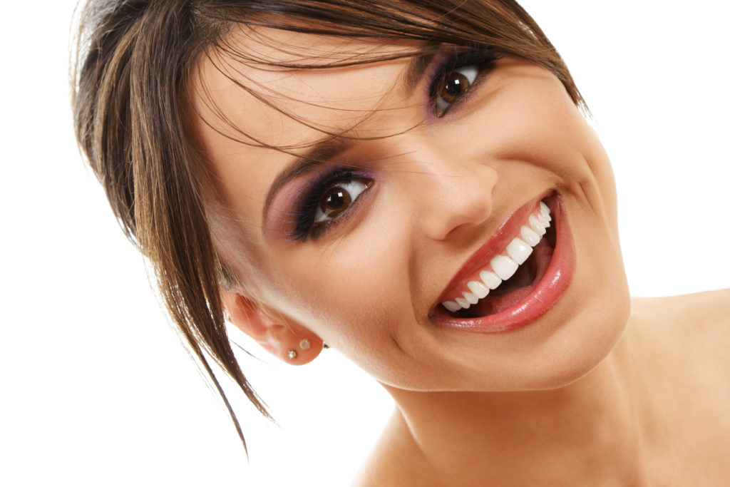 woman brunette smiling nice teeth
